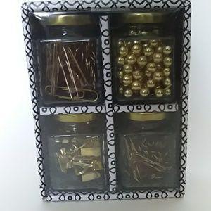 Gold Glass Jar Office Accesories Set